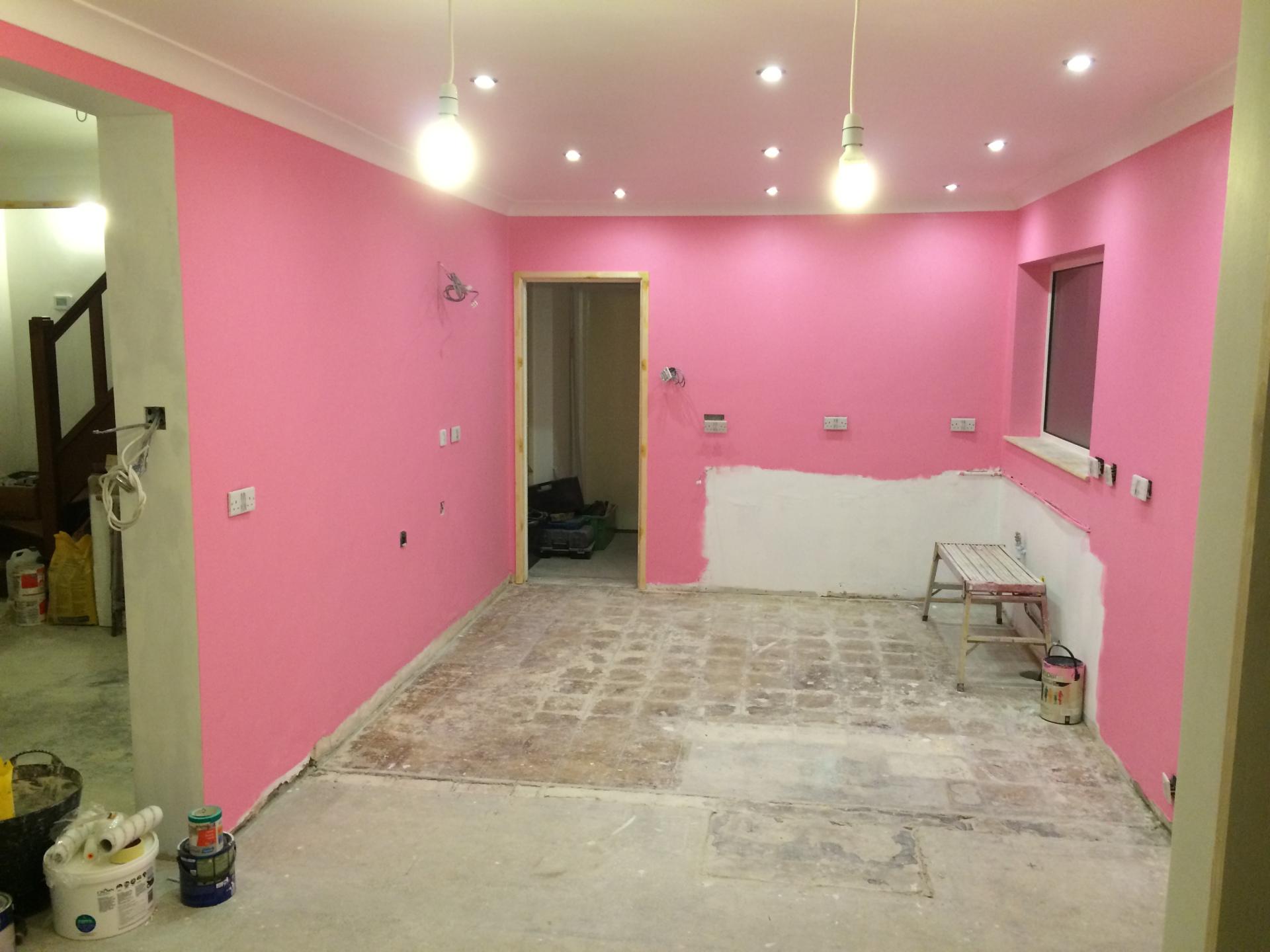 Pink kitchen walls!