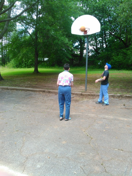 Afternoon basketball game with staff and residents