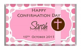 Religious Cross Christening-Communion Polka-Dot Pink