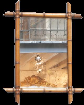 Antieke spiegel bamboe la folie antiek