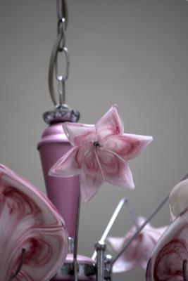 Kroonluchter model Franco Luce roze geblazen glas uniek speciaal Chandelier beautiful