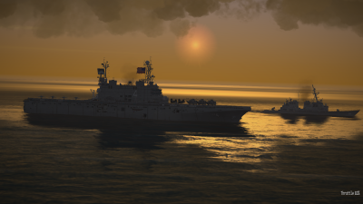 CAP2 flight simulator screenshot showing aircraft carrier at dusk