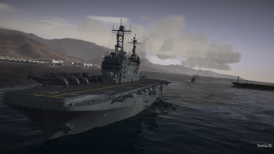 CAP2 flight simulator screenshot showing an aircraft carrier at dusk