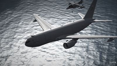 CAP2 flight simulator screenshot of Harrier refueling with KC767 tanker over ocean