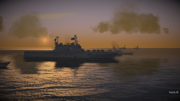 CAP2 flight simulator screenshot showing Harrier, MIGS and USS Nassau (LHA-4) at dusk