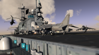 CAP2 flight simulator screenshot showing Harrier, MIGS and USS Nassau (LHA-4)