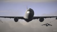 CAP2 flight simulator screenshot showing Harrier refueling with KC767 tanker