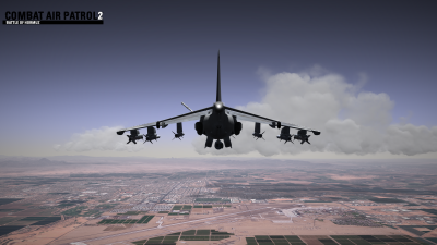 CAP2 flight simulator screenshot of Harrier with refueling probe extended over MCAS Yuma