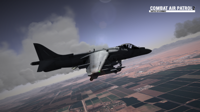 CAP2 flight simulator screenshot of Harrier over MCAS Yuma