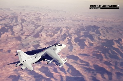 CAP2 flight simulator screenshot of Harrier over Barry M Goldwater Range