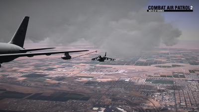 CAP2 flight simulator screenshot of Harrier refueling over MCAS Yuma
