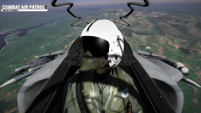 CAP2 flight simulator pilot cam view screenshot over Mach Loop