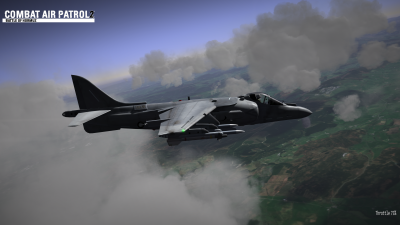 CAP2 flight simulator screenshot of Harrier flying the Mach Loop