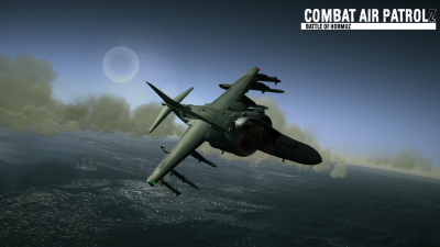 CAP2 flight simulator screenshot of Harrier training over Hawaii