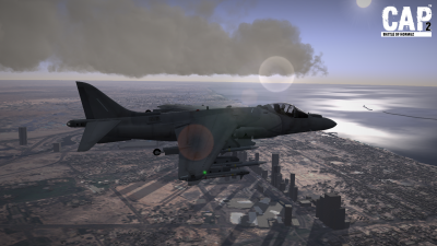 CAP2 flight simulator screenshot of Harrier above Dubai