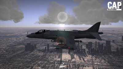 CAP2 flight simulator screenshot of Harrier near Dubai