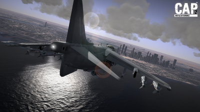 CAP2 flight simulator screenshot of Harrier approaching Dubai over the ocean