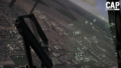 CAP2 flight simulator HUD view screenshot over MCAS Yuma