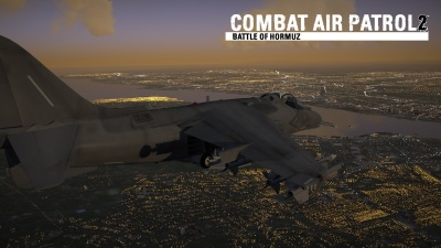 CAP2 flight simulator screenshot night flight with street lighting