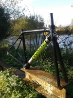 Custom Carbon handbuilt frame in-house paintwork