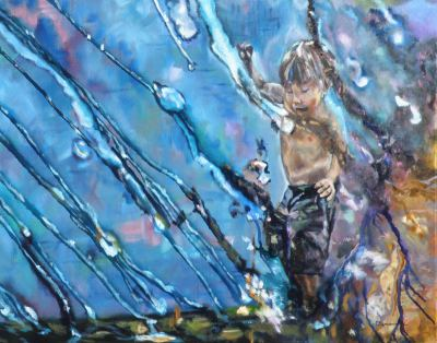 #saatchiart#childhood#rain#rainydays#splash#splashing#playing#playinginwater