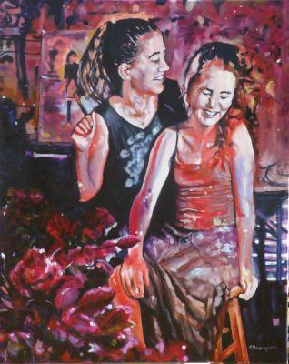 #saatchiart#sisters#oilpainting#fineart#art#red#talking#childhood