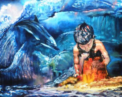 #dolphin#ocean#sand#childhood#guardian#blue#sea