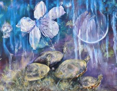 #turtles#nature#flowers#bayou#midnight#night#moon#purple#blue#impressionism