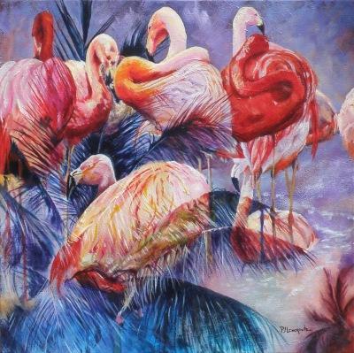 #flamingos#saatchiart/pjlenorovitz#nature#pink#fun#palmtrees