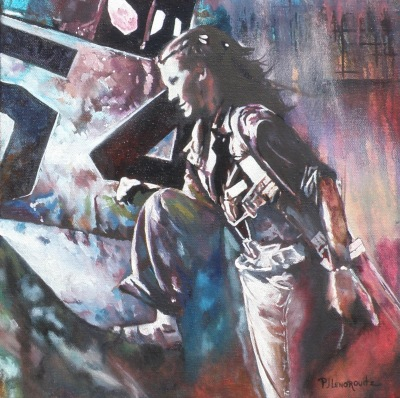 #women#women of wwII#mechanics#oil painting#fine art#women mechanics#impressionism#expressionism
