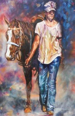 #women#horses#western#west#portraiture#roping#rodeo#oilpainting#mixedmedia#bestfriends