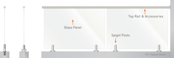 Spigot Fixed Glass with Top Rail options
