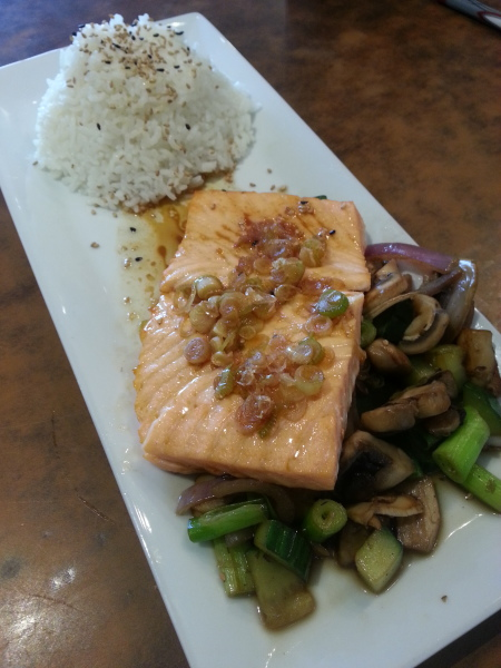 Baked Salmon, Roasted Vegetables, With Rice.