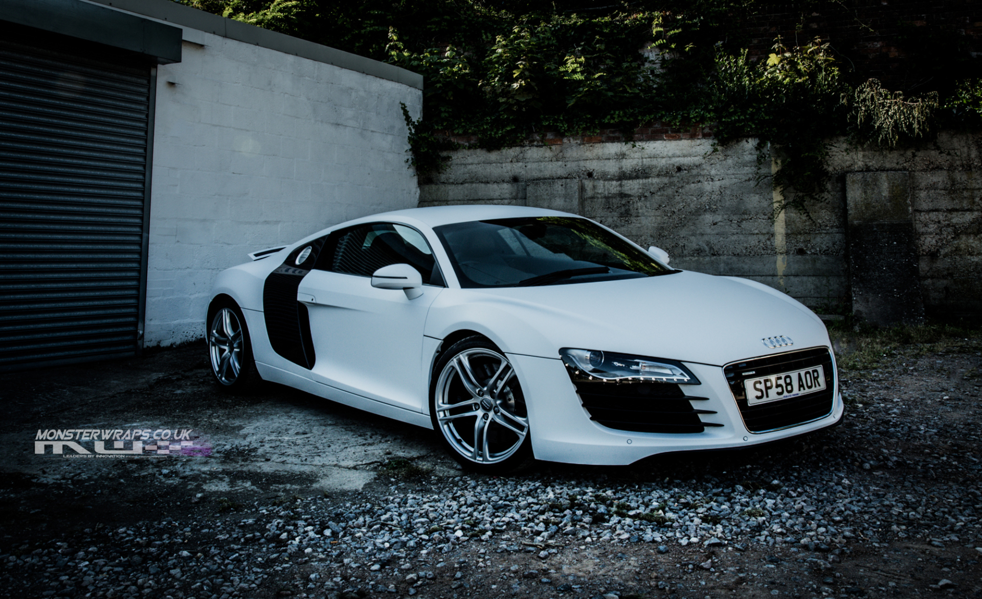 Audi R8 Matte white wrap with chrome gold