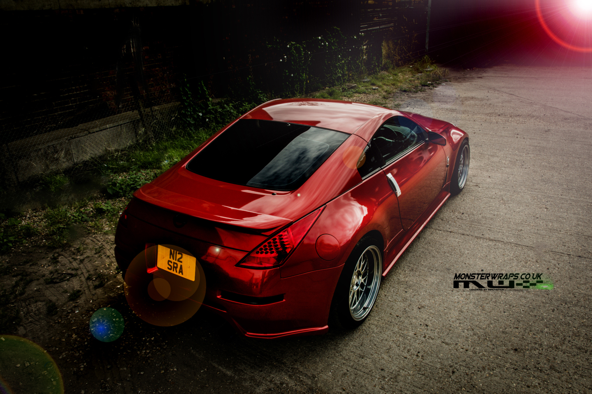 Nissan 350Z 3M Dragon Fire red wrap 3M Monsterwraps car wrap