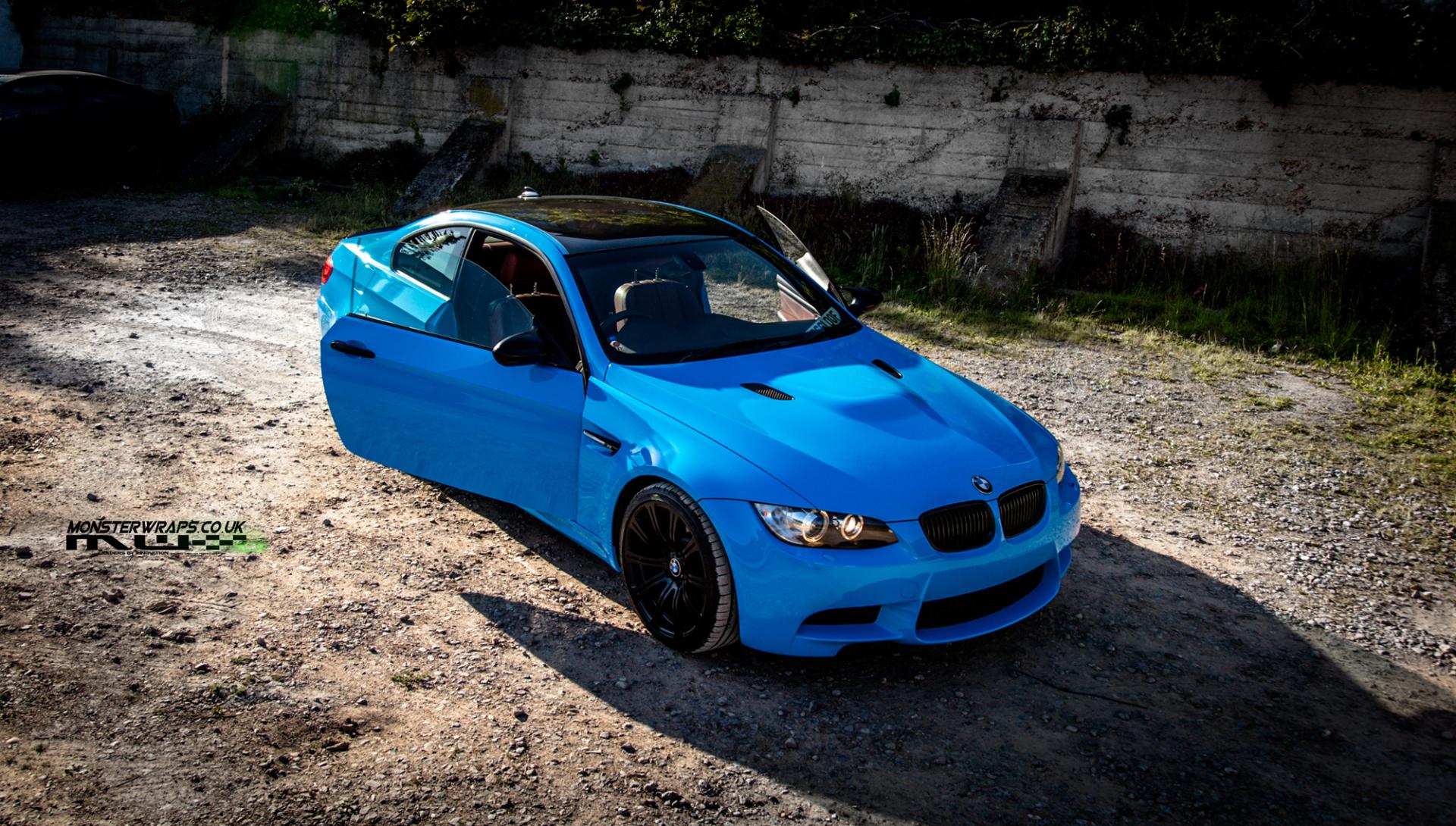 BMW M3 e92 Gloss sky blue wrap car wrap southampton 3M Monsterwraps