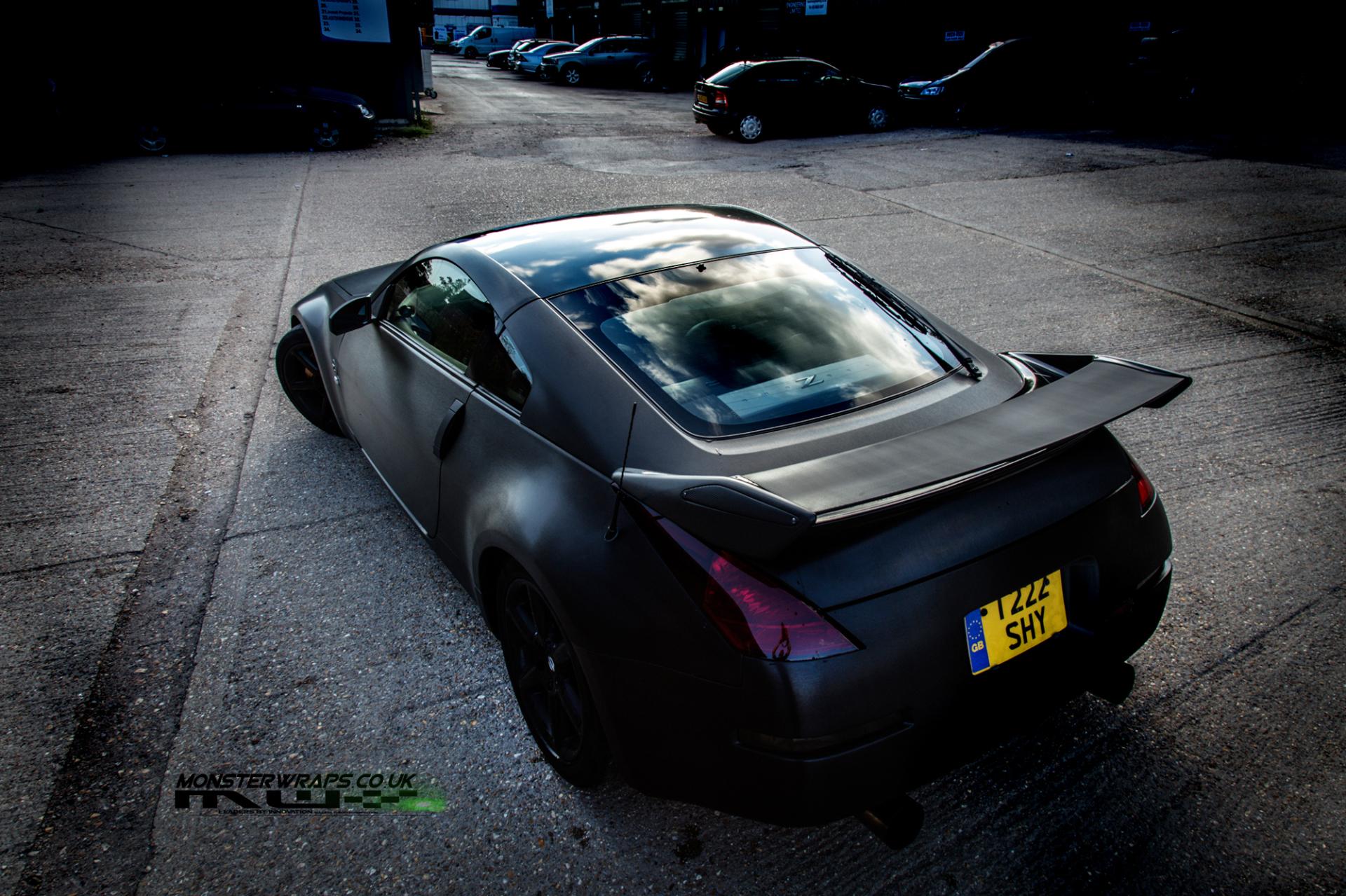 Nissan 350Z 3M Black Brushed metallic wrap 3M Monsterwraps car wrap