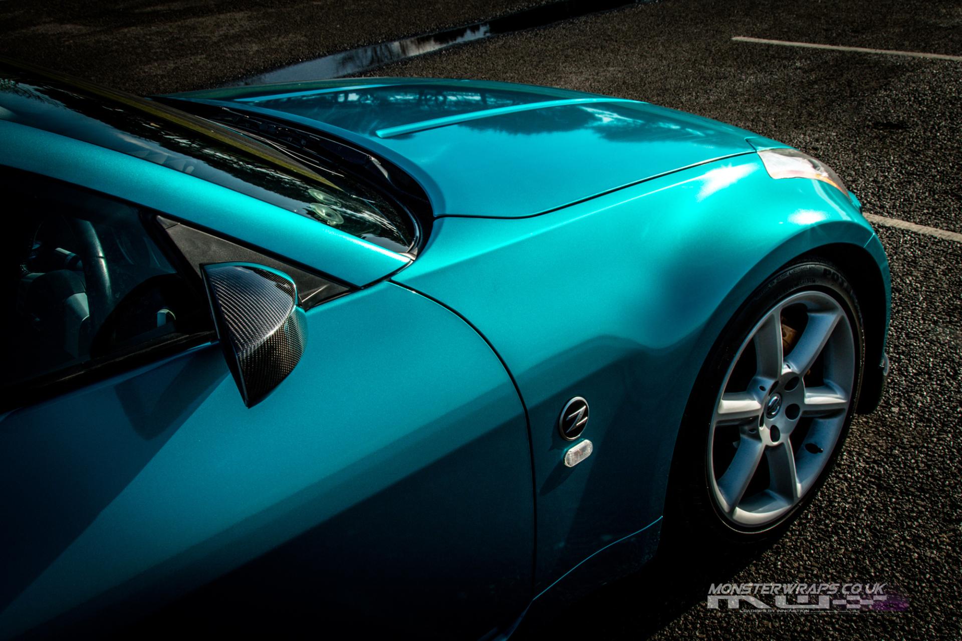Nissan 350Z 3M Gloss Atomic Teal car wrap monsterwraps
