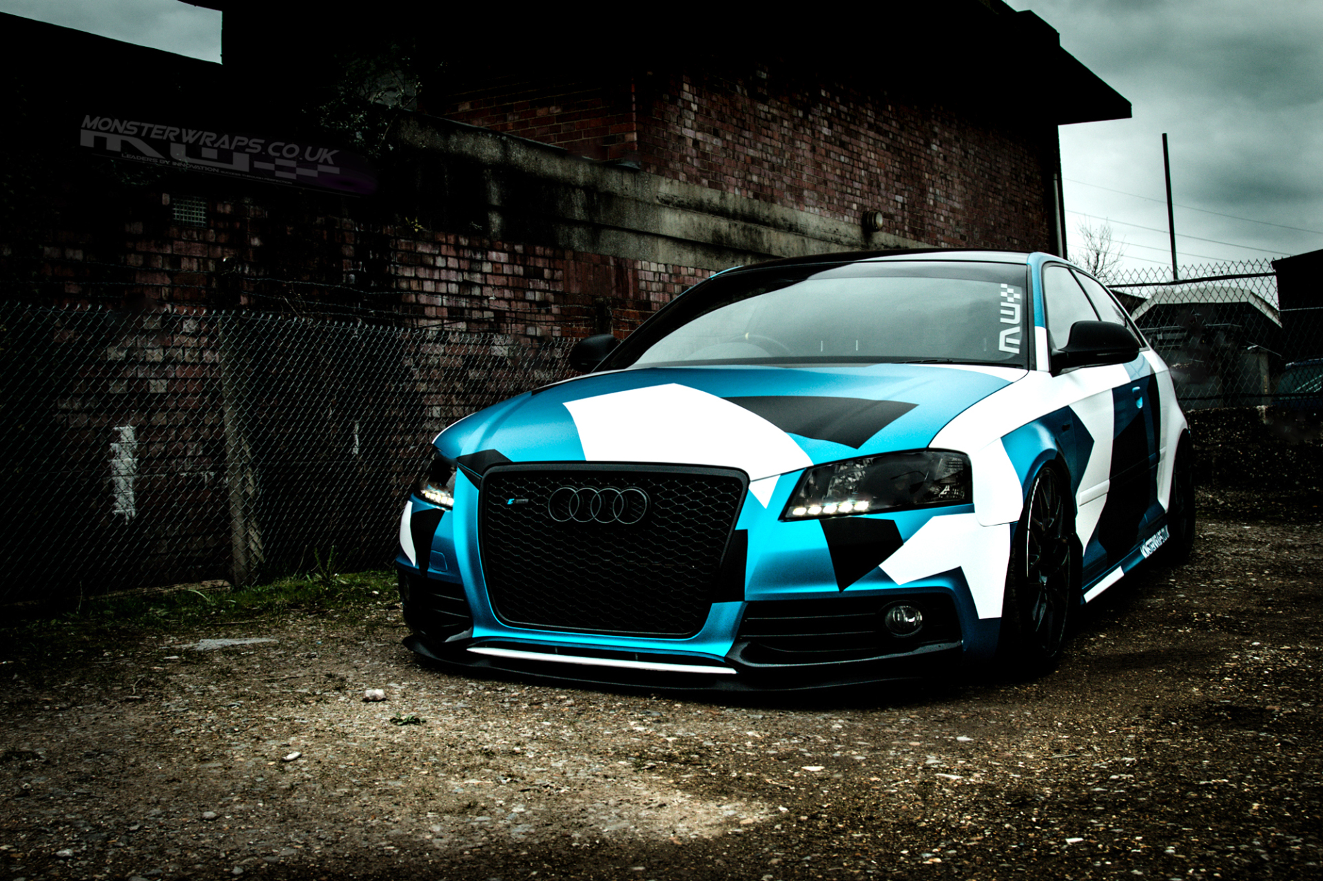Audi A3 3M Satin Ocean Shimmer Camo satin blue car wrap monsterwraps