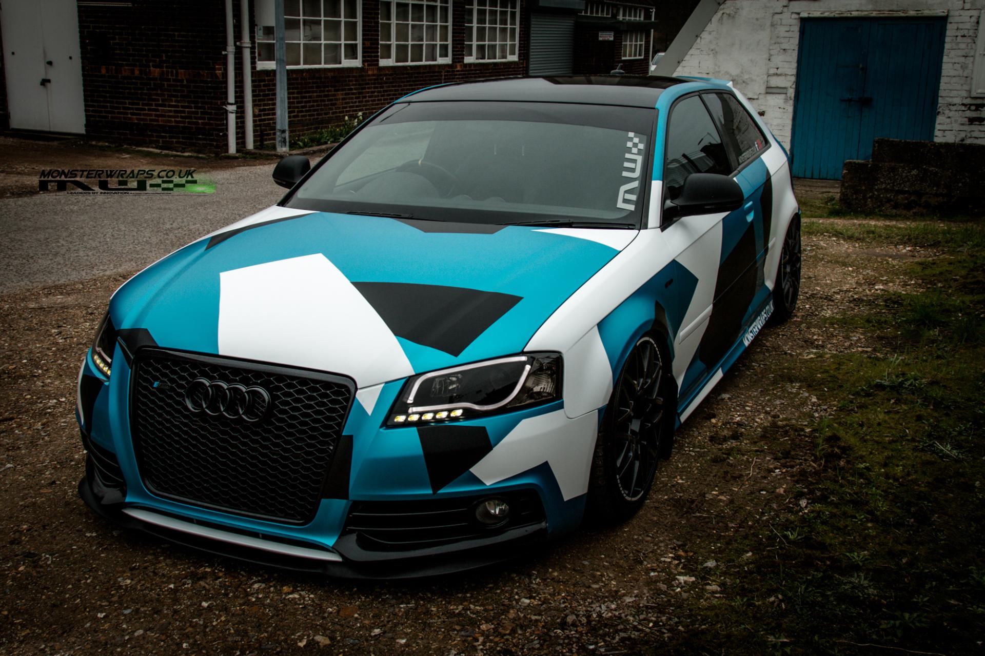 Satin blue Audi A3 Camo wrap