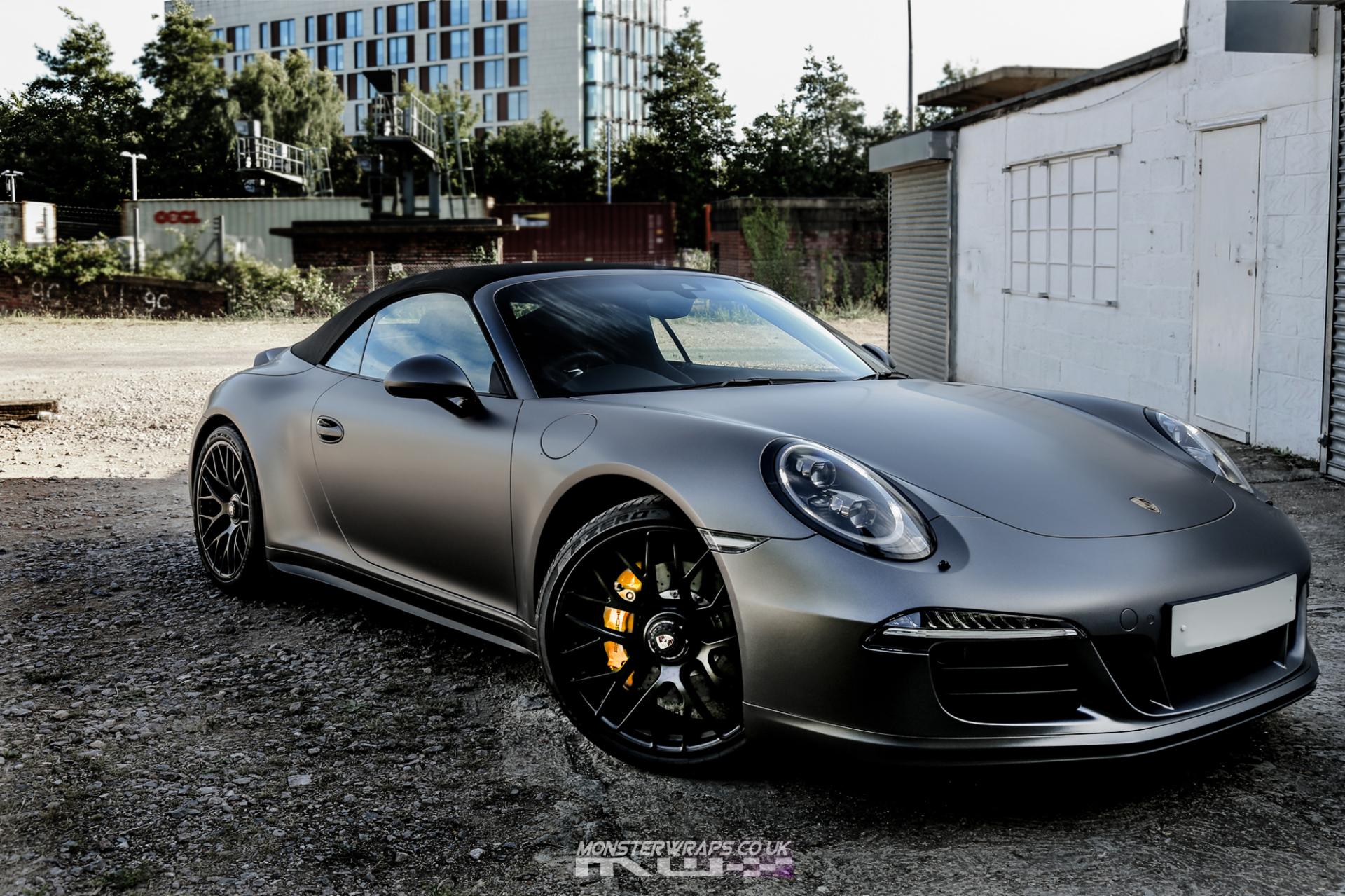 Porsche 911 GTS Satin dark grey wrap monsterwraps southampton