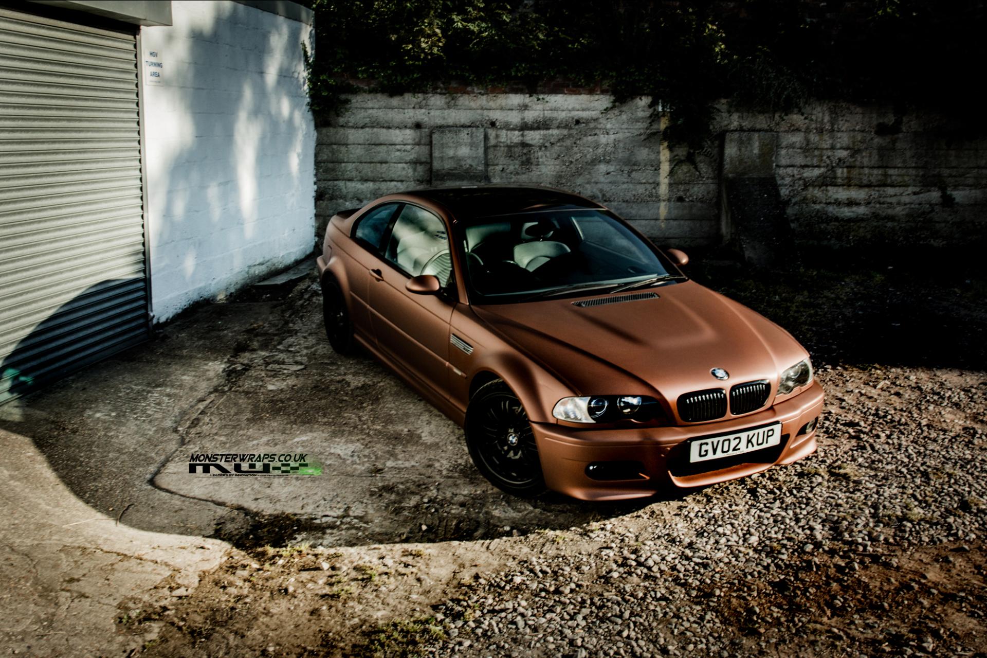 BMW M3 e46 Matte metallic brown car wrap 3M monsterwraps