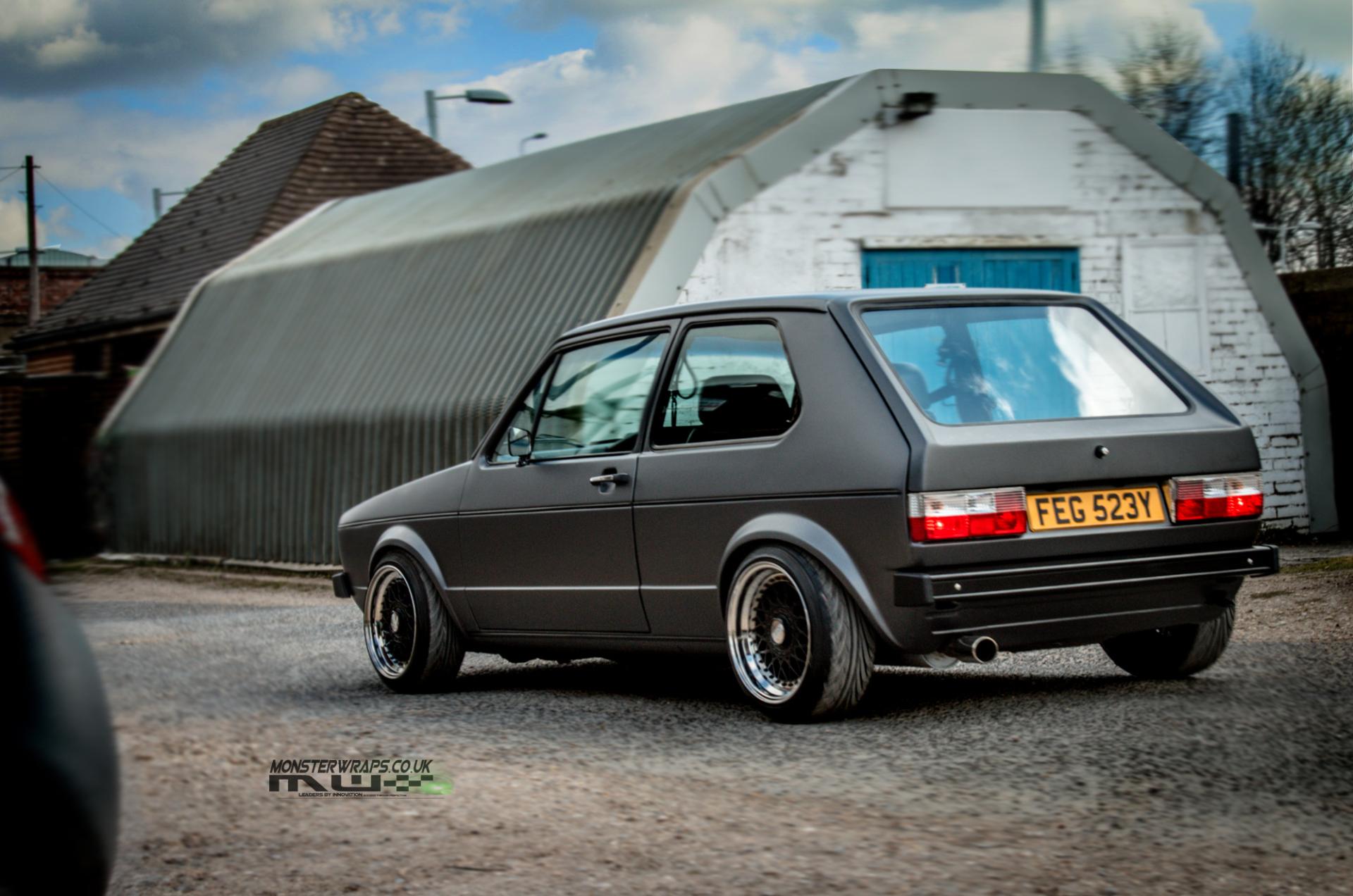 VW Golf mk1 matte dark grey wrap southampton hampshire monsterwraps