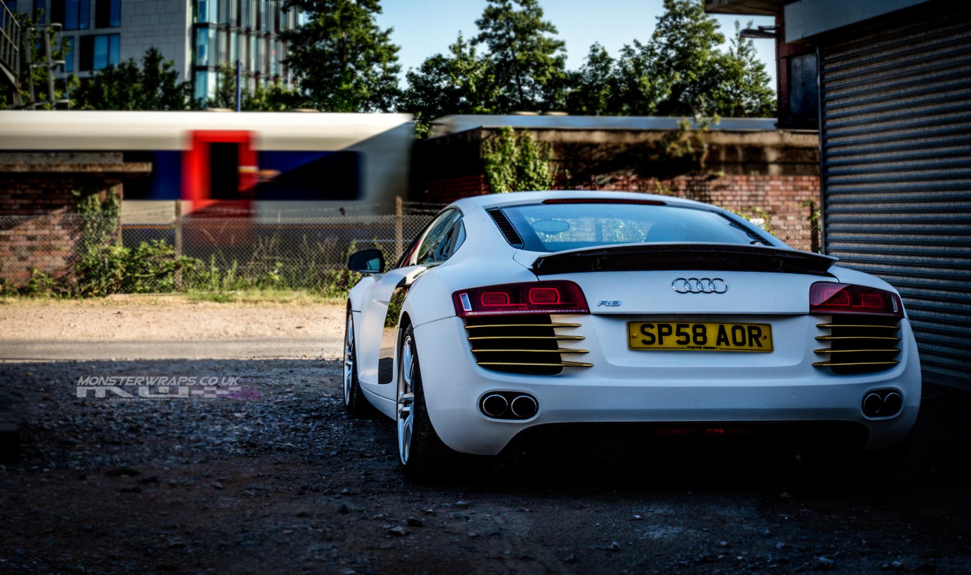 Audi R8 matte white chrome gold car wrap 3M monsterwraps