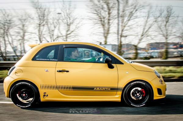 Fiat 500 Abarth Matte metallic yellow custom wrap southampton 3M monsterwraps