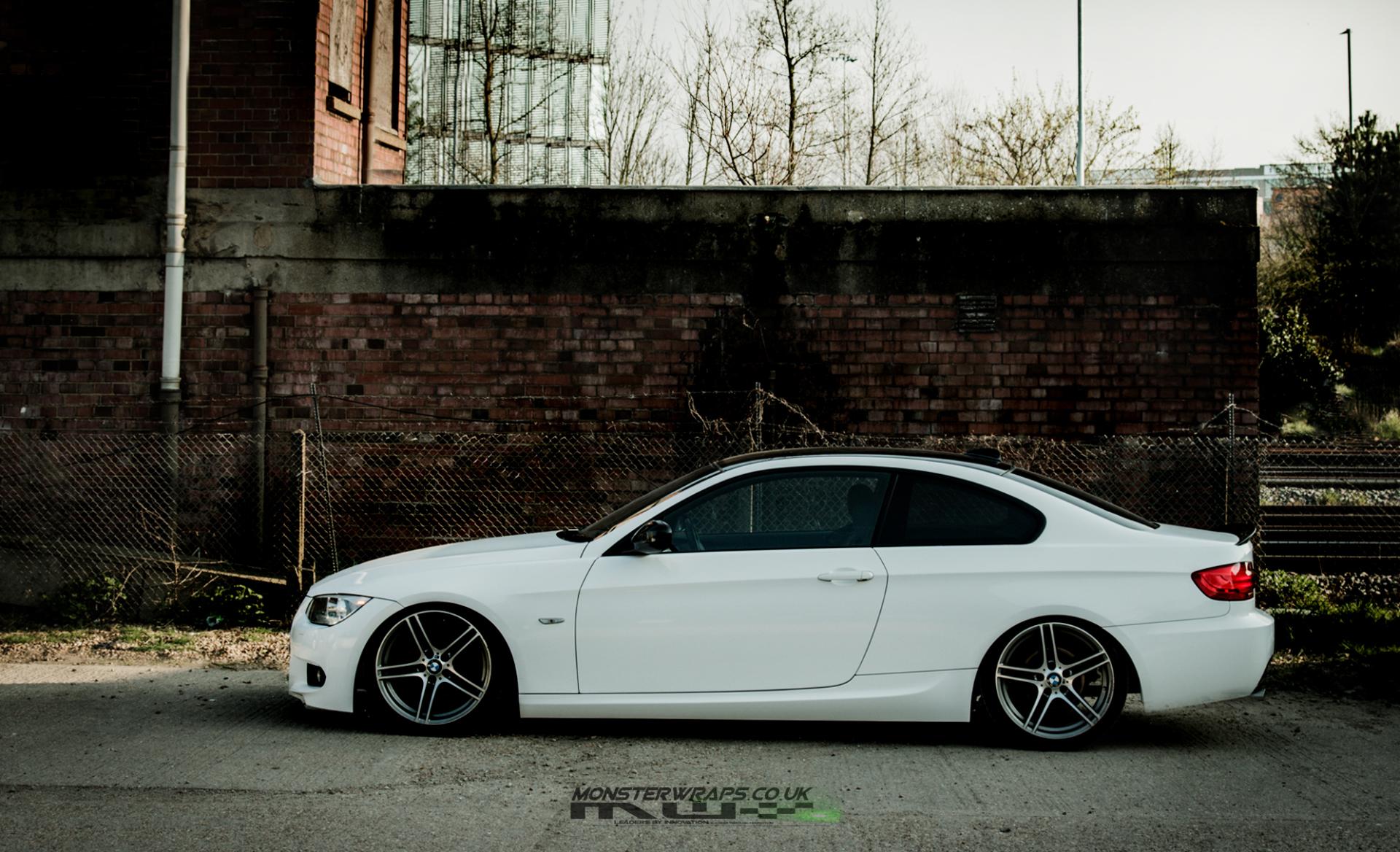 BMW 3 series E92 gloss white wrap 3M 1080 monsterwraps