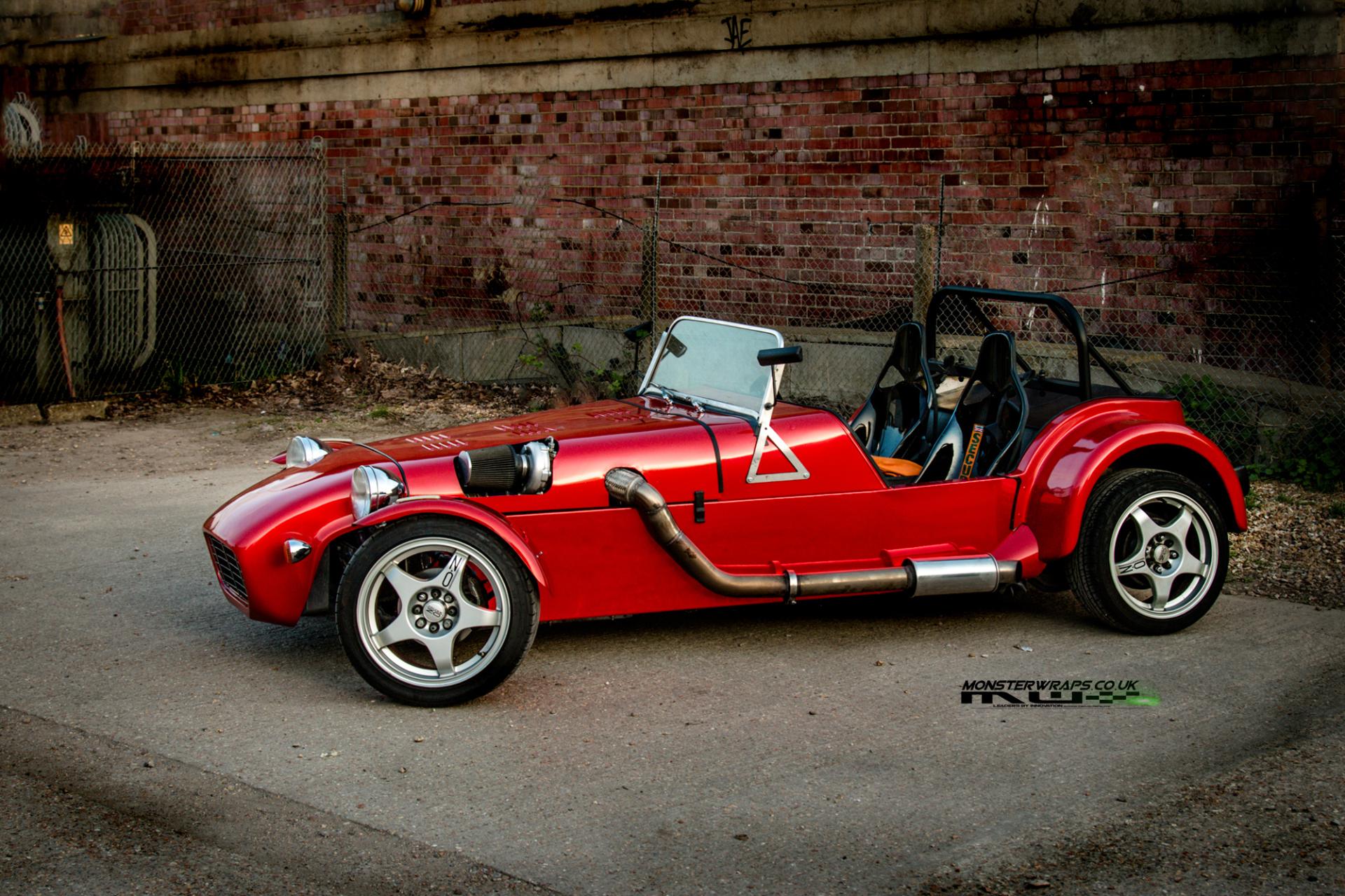 Westfield turbo kit car wrap dragon fire red 3M Monsterwraps