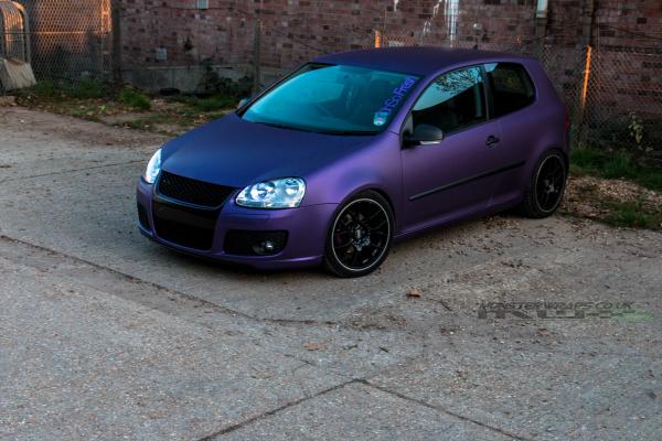 VW Golf mk5 Matte metallic purple colour change wrap 3M Monsterwraps