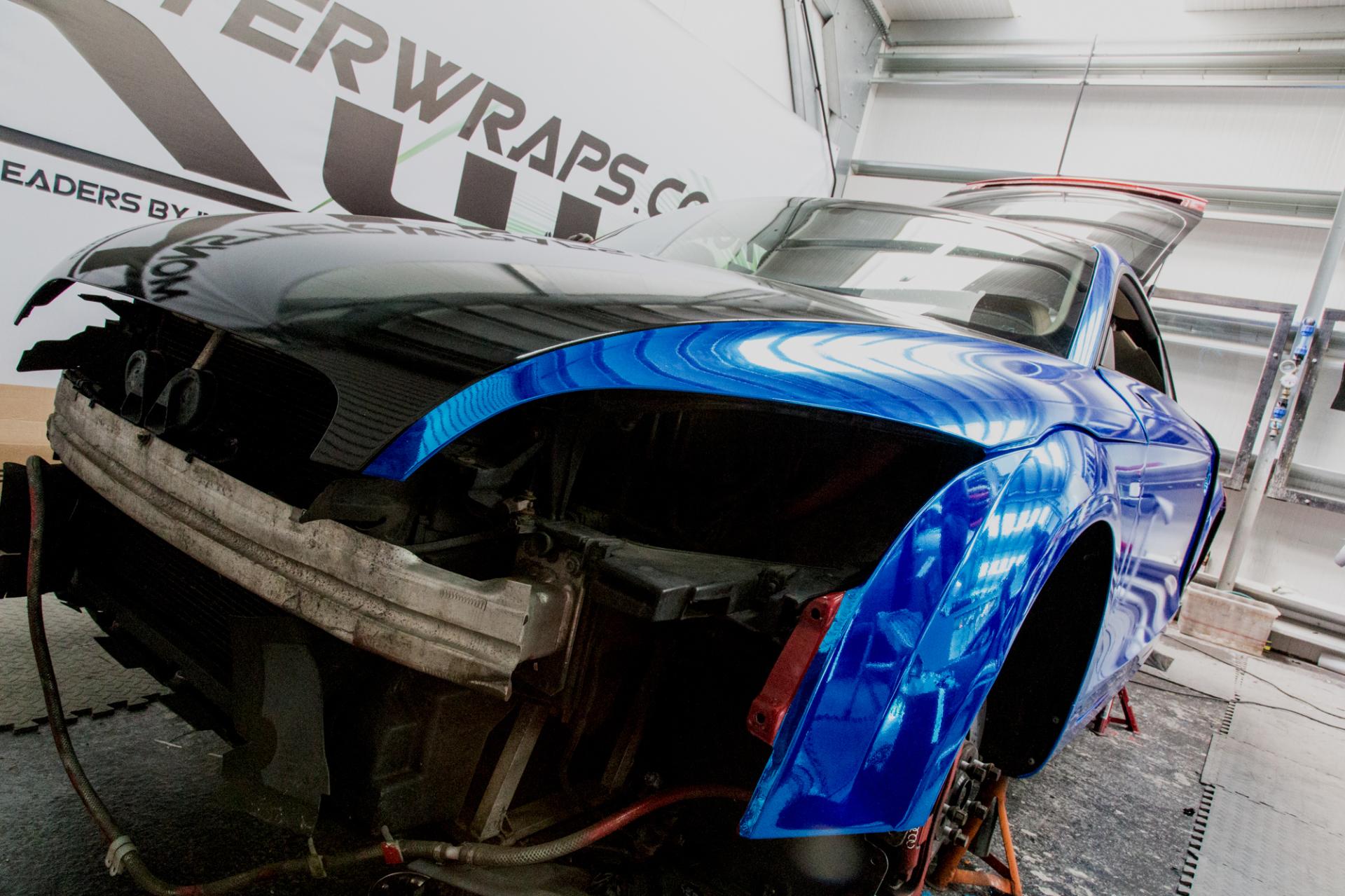 Audi TT mk2 ttrs tts chrome blue car wrap monsterwraps
