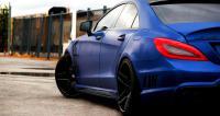 Blue brushed steel car wrap